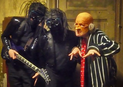 Bob, Chuck and Randy of The Residents during the Talking Light tour